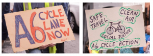 Protest signs about cycle lanes
