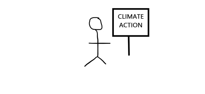 Stick man attempts to use a computer to create imagery relating to climate action